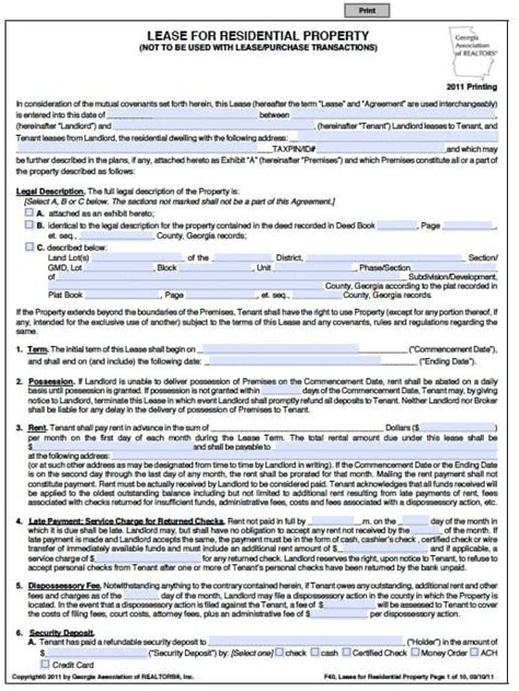 Printable Residential Lease Agreement 9 Free Word Pdf Autos Post One Year Lease Template
