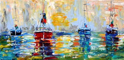 boat city usa radio commercial harbor boats at sunrise painting by karen tarlton