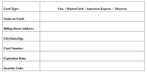 credit card information form template parent guardian credit card authorization form 2018