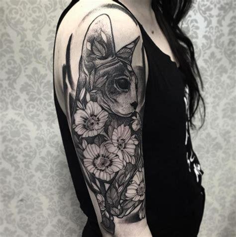 tattoo cat and flower cool cat disign part 9 tattooimages biz
