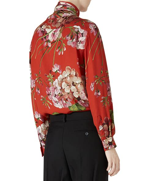 Ff Blouse Gucci 1 gucci floral print silk blouse in black lyst