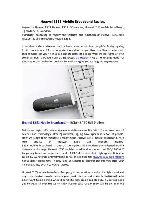 Modem Huawei E353 Usb huawei e353 mobile broadband review