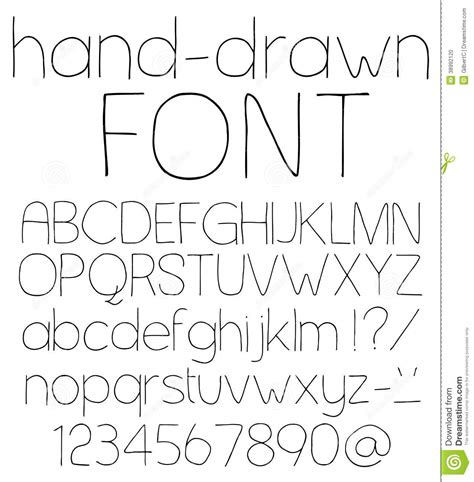 hand drawn pattern font hand drawn font stock vector image of line serif