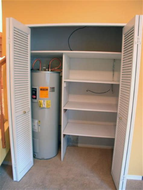 water heater in bedroom closet lower level fireplace