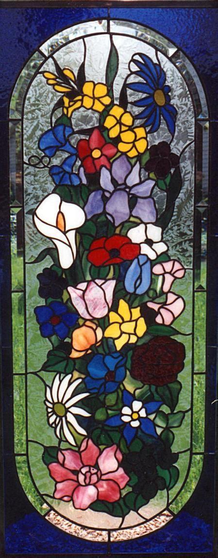 flower design in glass stained glass bathroom window in flower design