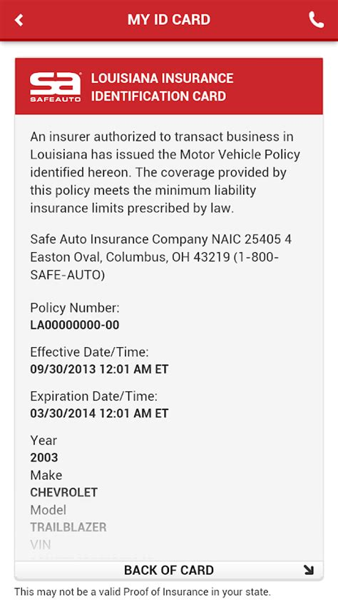 proof of insurance card template safeauto android apps on play