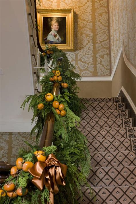 christmas garland for banister banister garland holiday ideas pinterest
