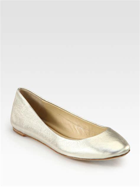 wang flat shoes vera wang lavender lara metallic leather ballet flats in
