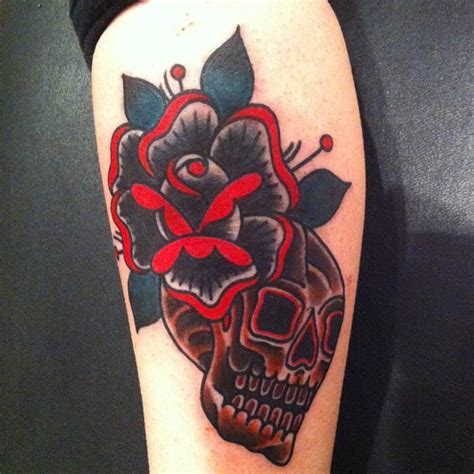 skull and black rose tattoo deno jr black inked the