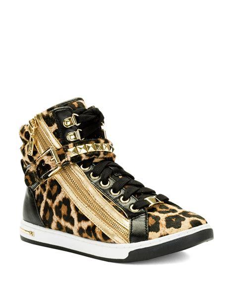 studded sneaker wedges michael michael kors studded wedge sneaker in animal