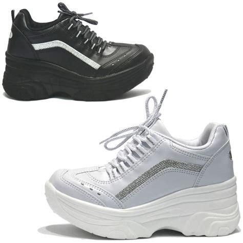 Sneaker Wedges Ankle Autunum Black womens black white platform wedge sneakers