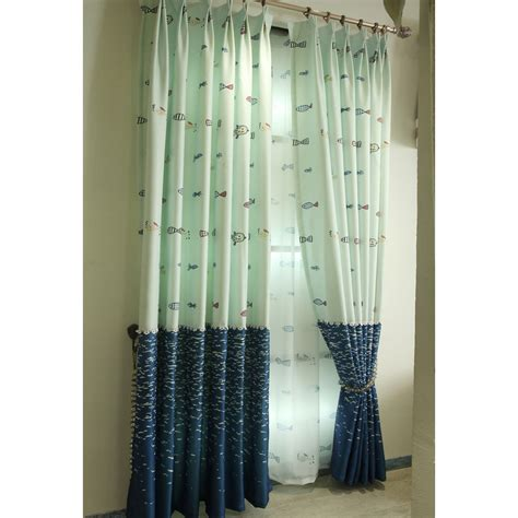 Navy And Green Curtains Designs Navy And Green Fish Jacquard Cotton Pinch Pleated Curtains