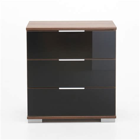 bedside cabinets easy plus bedside cabinet high in walnut and black glass