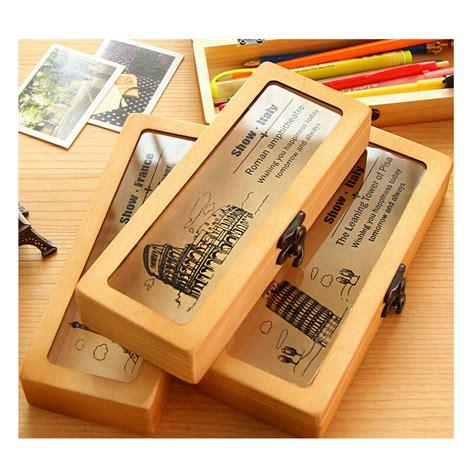 Kayu Box Kotak Kayu Hiasan Penyimpanan Alat Tulis Hiasan Vintage alat tulis korean retro baru kotak pensil kayu kualitas tinggi yang menakjubkan pensil kreatif