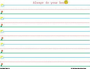 writing paper for kindergarten with lines penmanship