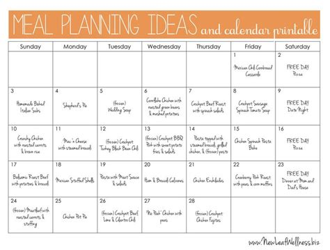 printable meal prep plan exle monthly meal plan and links to recipes