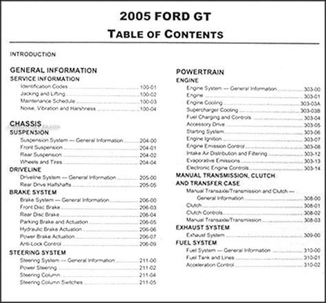 2005 ford gt repair shop manual original