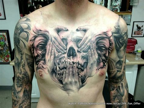 evil and love tattoo this see no evil hear no evil speak no evil skull