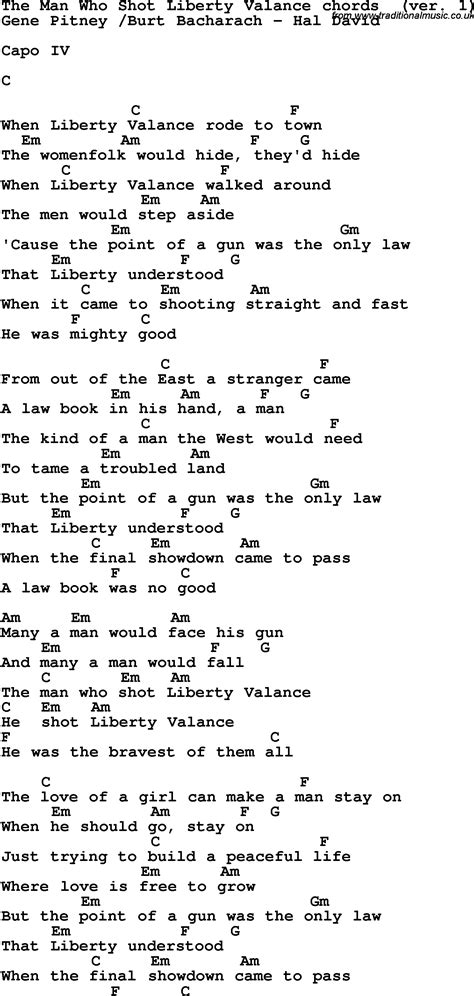 Liberty Valance Lyrics song lyrics with guitar chords for the who liberty valance