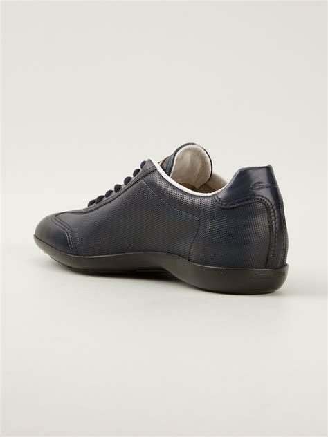 santoni sneakers santoni laceup sneakers in blue for lyst