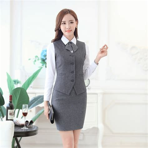 St 2in1 Baju Atasan Wanita Blouse Dress aliexpress buy fashion business suits with skirt and vest waistcoat sets slim
