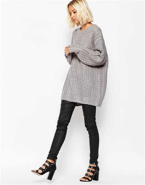 Kaos Bunny And Knit lyst cheap monday chunky oversize knit jumper in gray