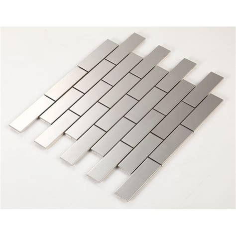 metallic subway tile backsplash stainless steel tile with base kitchen backsplash subway