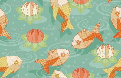 origami gold fish giftwrap cjldesigns spoonflower