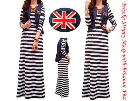 Gamis Jersey Korea Muslim Motif Burberry 9516 friska strippy maxi keranjangpakaian pusat busana supplier maxi dress tangan