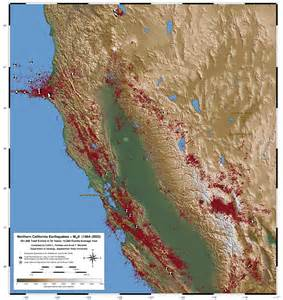 northern california map pdf map of northern california earthquakes from 1984 2003