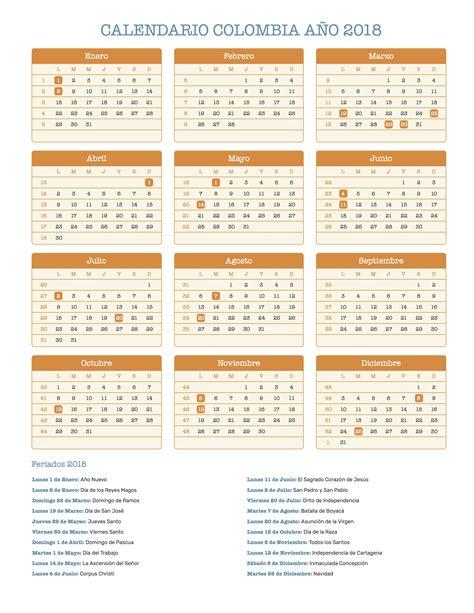 Calendario 2018 Colombia Con Festivos Excel Calendario Colombia A 241 O 2018 Feriados