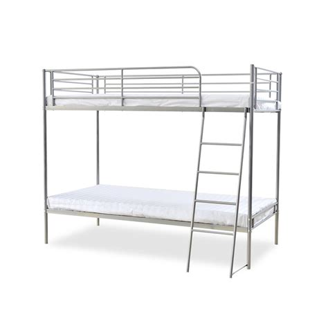 metal bunk bed torquay silver metal bunk bed single inc 2 x mattress deal next day select day delivery
