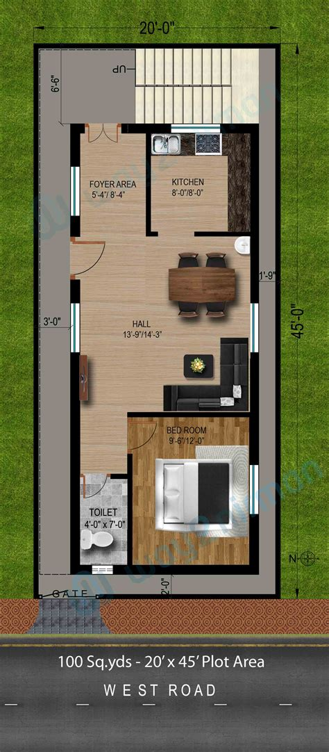 home design in 50 yard 100 sq yds 20x45 sq ft west face house 1bhk floor plan jpg