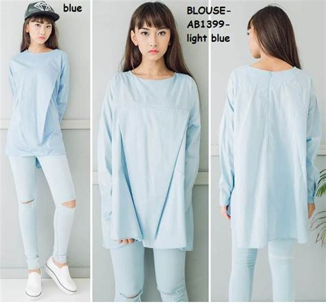 Baju Blus Etnica White jual baju blus tunik panjang big size katun putih white polos korea import amelie butik