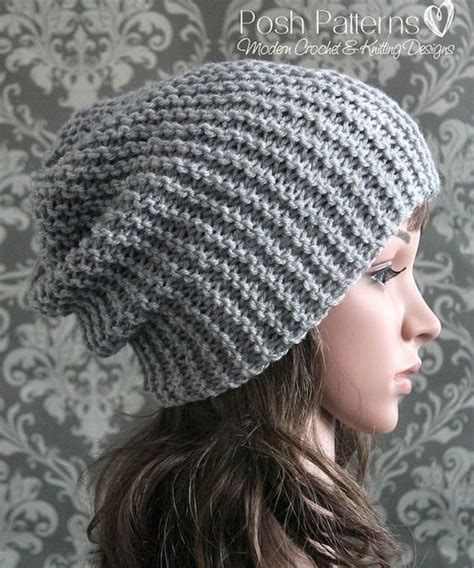 simple pattern for knitted beanie knitting pattern easy beginner knit slouchy hat pattern