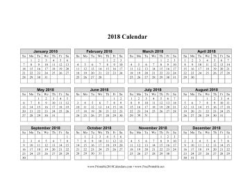Calendar 2018 Horizontal Printable 2018 Calendar On One Page Horizontal Grid