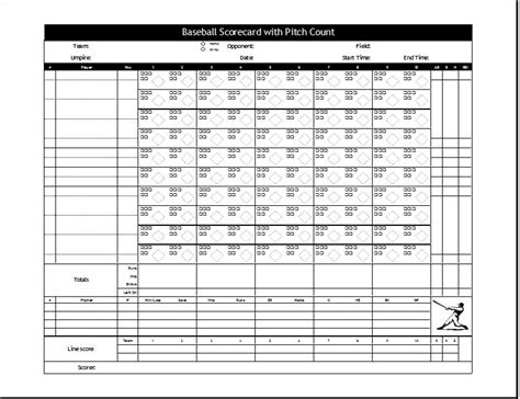 Baseball Scorecard Excel Template by Baseball Scorecard Template At Http Worddox Org