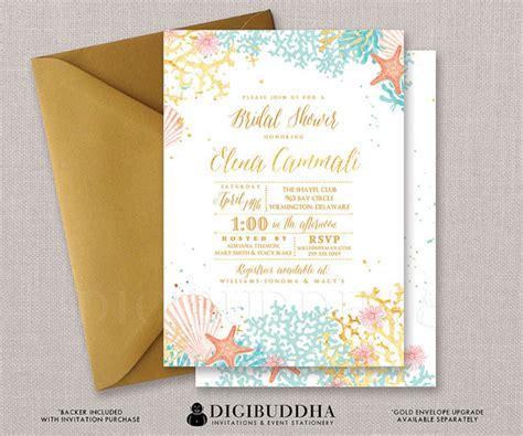 free printable wedding invitation watercolor beach bridal shower invitation watercolor ocean coral gold