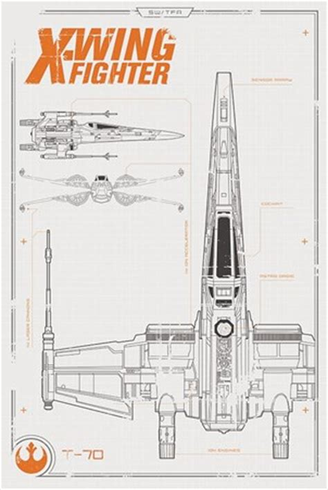 Mini Framed Poster Cloud Vii 1 x wing starfighter plans poster wars episode vii