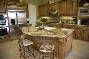 Rounded Kitchen Island open living space dark kitchen design with eat in kitchen bar and