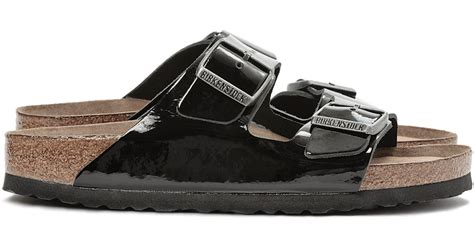 birkenstock patent sandals birkenstock arizona patent leather sandals in black lyst