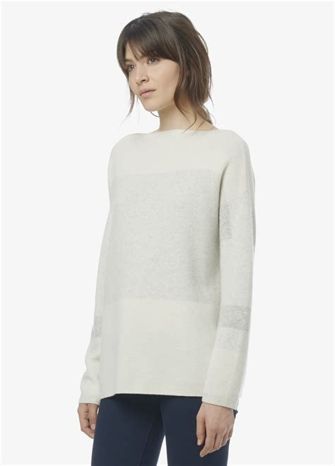 vince boatneck pullover cashmere sweater lyst vince intarsia wool cashmere boatneck sweater in white