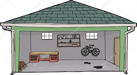 garage cartoon isolated open garage with bike stock vector