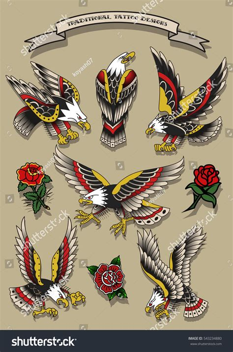 traditional eagle tattoo vector vector traditional tattoo eagles set american tattooing