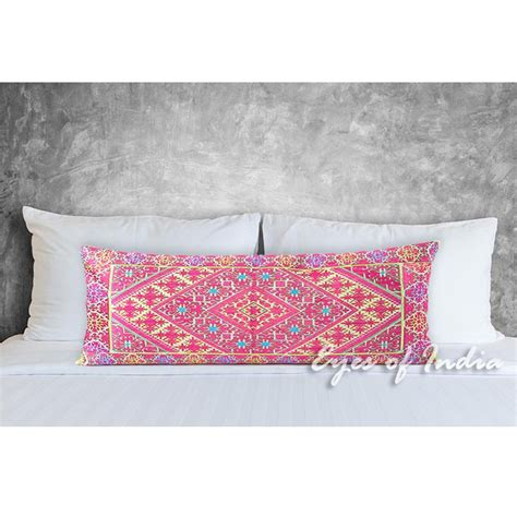 long pillows for couch pink embroidered swati bolster long lumbar decorative sofa