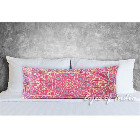 Pink Embroidered Swati Bolster Long Lumbar Decorative Sofa Lumbar Pillows For Sofa