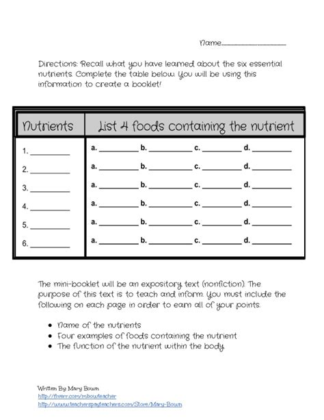 home and careers lesson plans the six essential nutrients lesson plan and worksheet