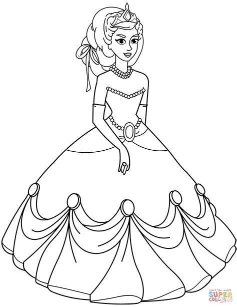 princess coloring pages images princess in gown dress coloring page free printable