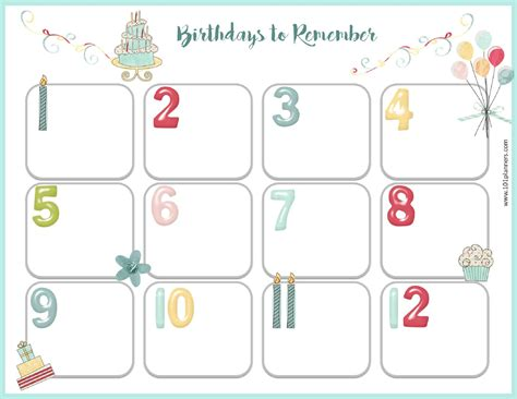 birthday calendar template free download free birthday calendar printable amp customizable many