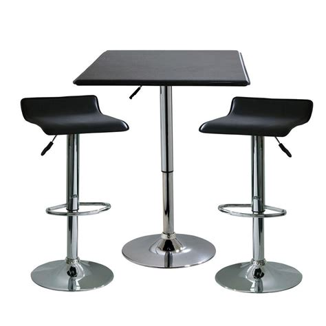 Adjustable Height Bar Table Amerihome 35 In H Contemporary Style Adjustable Height Bar Table With 2 Backless Stools 3
